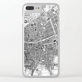 Vintage Map of Dublin Ireland (1797) BW Clear iPhone Case