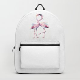 Two Flamingos Watercolor Flamingo Love Backpack