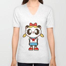 Tokupan Girl (Tokusatsu Panda) Before Henshin Unisex V-Neck