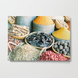 """Travel photography """"Souk Marrakech"""" Spices of the Medina   Morocco photography Metal Print"""