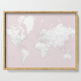 World map, highly detailed in dusty pink and white Serving Tray