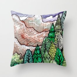 landscape forest montain pines Throw Pillow
