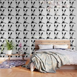 English Bull Terrier, dog breed art, black white, monochrome Wallpaper