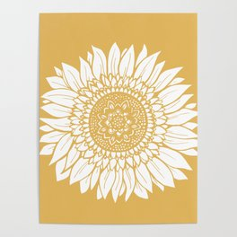 Yellow Sunflower Drawing Poster