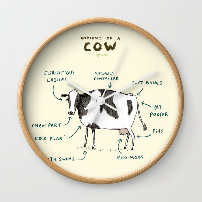Anatomy of a Cow Wall Clock by sophiecorrigan | Society6