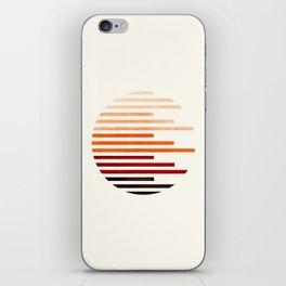 Mid Century Modern Minimalist Circle Round Photo Burnt Sienna Staggered Stripe Pattern iPhone Skin