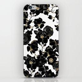 Modern Elegant Black White and Gold Floral Pattern iPhone Skin