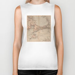 Vintage Map of Cape Cod MA (1905) Biker Tank