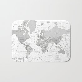World Map [Black and White] Bath Mat