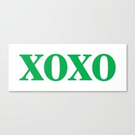 Green XOXO Canvas Print