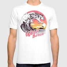 Wolf Beach MEDIUM White Mens Fitted Tee