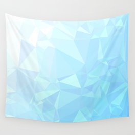 Low Poly Blue Ombre Wall Tapestry