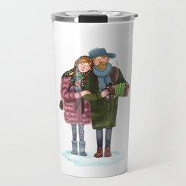 Russian funky couple Travel Mug
