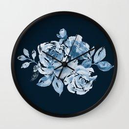 Country Rose on Indigo Wall Clock