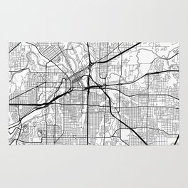 Fort Worth Map White Rug