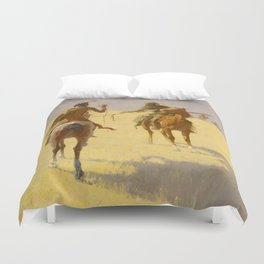 "Frederic Remington Western Art ""The Parley"" Duvet Cover"