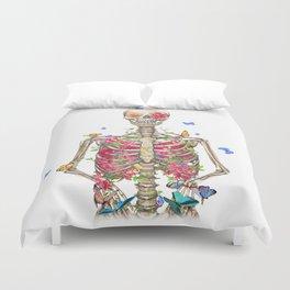 Blooming skeleton on the white background  Duvet Cover