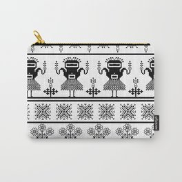 folk embroidery, black on white background. Collection of flowers, birds, peacocks, horse Carry-All Pouch