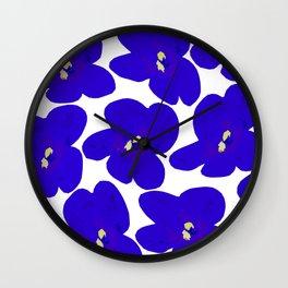 Blue Retro Flowers Wall Clock