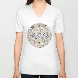 Art Deco Marble Tiles in Soft Pastels Unisex V-Neck