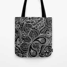 Hand painted abstract black white watercolor floral butterfly Tote Bag