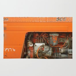 Orange Tractor Abstract Rug
