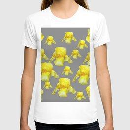 LEMON YELLOW SPRING IRIS GREY ART T-shirt