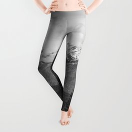 Snow Capped Sierras - Black and White Nature Photography Leggings
