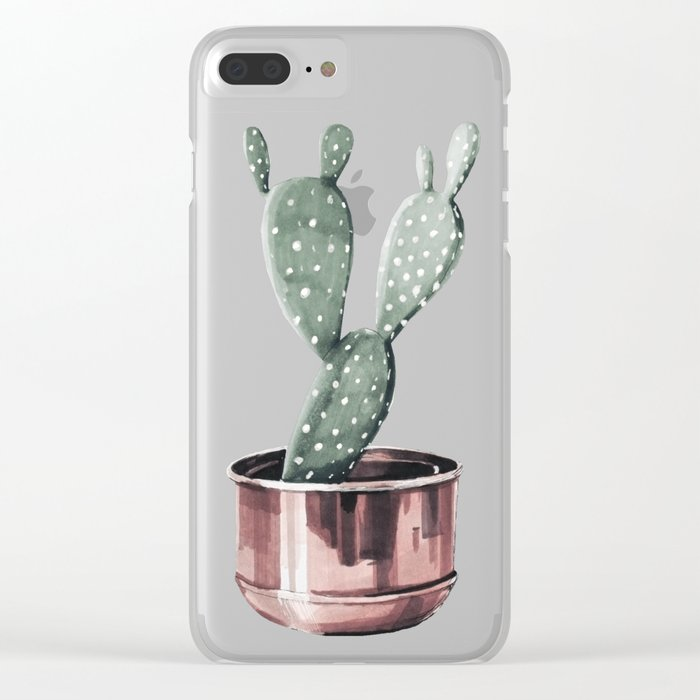 Potted Cactus Rose Gold Clear iPhone Case