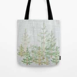 Pine forest on weathered wood Tote Bag