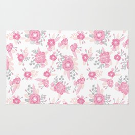 Pink pastel florals cute nursery baby girl decor floral botanical bouquet blooms Rug