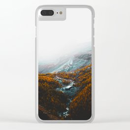 Aerial View Of Orange Autumn Forest Appalachian Mountains Clear iPhone Case