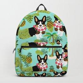 Tri Corgi Hula Grass Skirts Pineapple Tropical Summer Cute tricolored corgi design Backpack