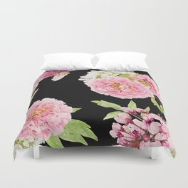 Black and Pink Watercolor Peony Duvet Cover