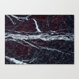 Black marble with white vains marble print luxuous real rock marble surface texture Canvas Print