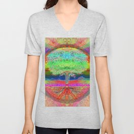 Neon Glow Tree of Life Unisex V-Neck