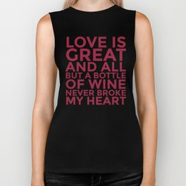 Love is Great and All But a Bottle of Wine Never Broke My Heart (Burgundy Red) Biker Tank