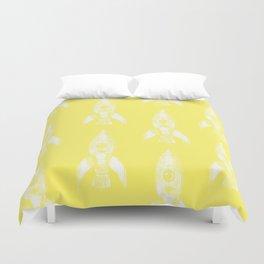 rocket in yellow Duvet Cover