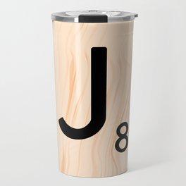 Scrabble Letter J - Large Scrabble Tiles Travel Mug