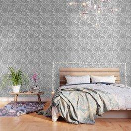 Oriental Persian Paisley, Dots - Black White Wallpaper