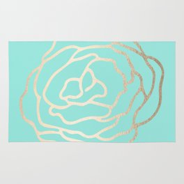 Flower in White Gold Sands on Tropical Sea Blue Rug