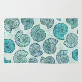 Shimmering Underwater Shell Scenery Aqua Colors Rug