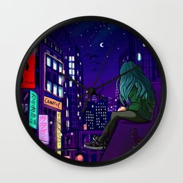 city digital art Wall Clock
