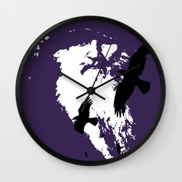 Odin Portrait and Silhouette of Ravens Vector Art Wall Clock