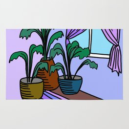 Three Potted Plants in the Corner - Lavender Blue Rug