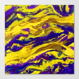 OIL ABSTRACT PAINTING - PLAY OF YELLOW AND BLUE Canvas Print