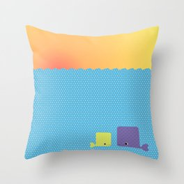 Having a whale of a time Throw Pillow