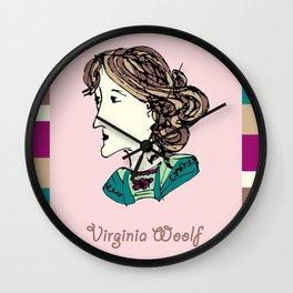Virginia Woolf - hand-drawn portrait Wall Clock
