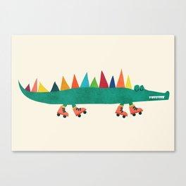 Crocodile on Roller Skates Canvas Print