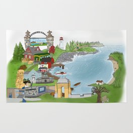 Louisbourg Illustrated in Color Rug